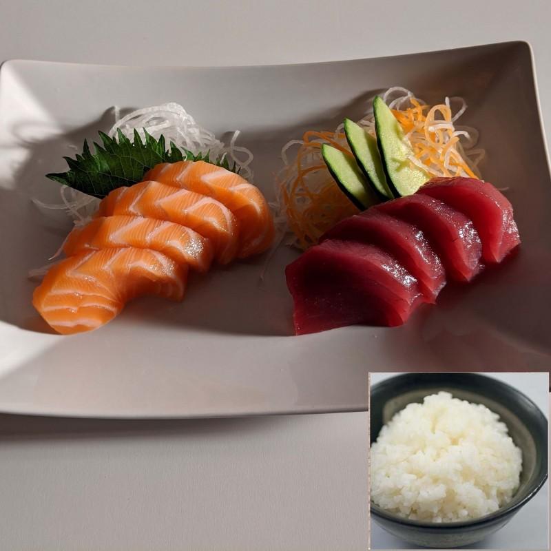 4 SASHIMI THON - 4 SAUMON LR + riz